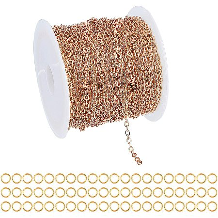 ARRICRAFT Brass Cable Chains, Soldered, with Spool, Flat Oval, with Jump Rings, Real 18K Gold Plated, Cable Chains: 10m/roll, 1roll/set, Jump Rings: about 60pcs/set