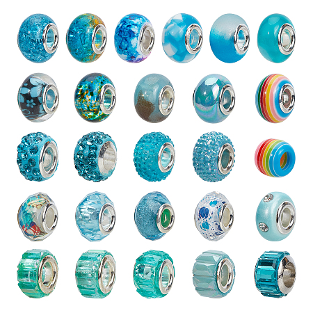 NBEADS Acrylic & Resin & Polymer Clay Rhinestone European Beads, Large Hole Beads, with Silver Color Core, Rondelle, Mixed Color, Beads: 13.5~14x8~10mm, Hole: 5mm, 54pcs/bag, 1bag/box