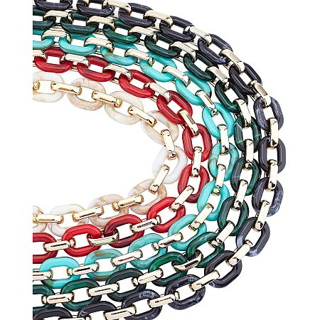 Gorgecraft Handmade Acrylic Cable Chains, with CCB Plastic Linking Rings, Mixed Color, Links: 24x18x5mm and 19x12x4.5mm; 39.37 inches(1m)/strand; 5strands/set