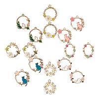 SUNNYCLUE Alloy Pendants, with Enamel, Rhinestone, Resin and ABS Plastic Imitation Pearl, Golden, 16pcs/set
