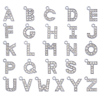 Alloy Micro Pave Cubic Zirconia Rhinestone Pendants,  Mixed Letters, Clear, 16~18.5x11.5~17x2mm, Hole: 2mm