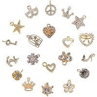 PandaHall Elite 20pcs Mixed Style Alloy Rhinestone Charms Pendant for DIY Necklace Bracelet Jewelry Making (Star, Moon, Heart, Bowknot, Crown)