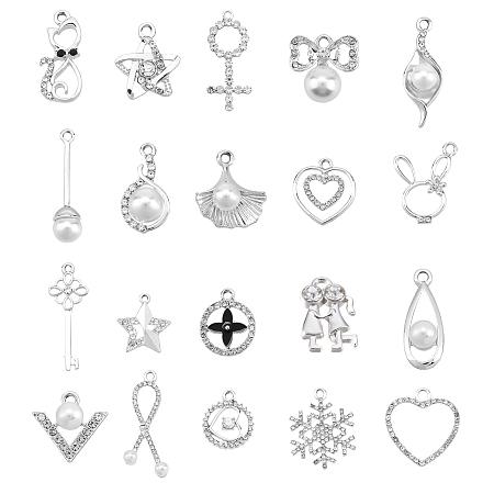 Alloy Rhinestone Pendants & Alloy Enamel Pendants & Alloy Pendants, with ABS Plastic Imitation Pearl Beads, Mixed Patterns, Platinum, 40pcs/box
