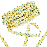 Gorgecraft Flower Polyester Trim Ribbon, for Curtain Lace Trimmings, Gold, 3/4 inches(20mm)