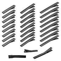PandaHall Elite Iron Flat Alligator Hair Clip  Findings, DIY Hair Accessories Making, Black, 46~77x8~9mm, 60pcs/box