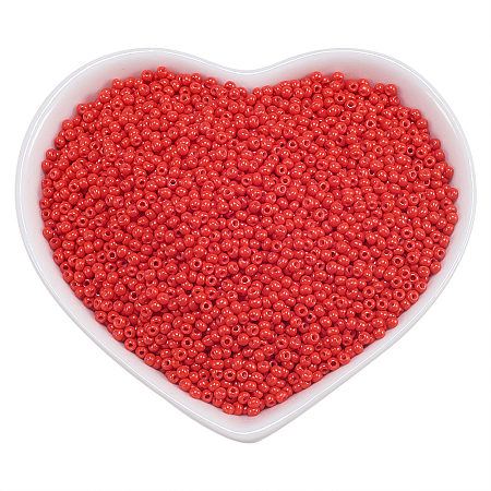 ORNALAND 12/0 Glass Seed Beads, Baking Varnish, Opaque Colours, Round, Orange Red, 2x1.5mm, Hole: 0.3mm; about 11200pcs/bag