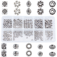 SUNNYCLUE Tibetan Style Alloy Spacer Beads, Mixed Shapes, Antique Silver, 200pcs/box