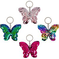 Keychain, with Plastic Paillette Beads, Iron Key Ring and Chain, Butterfly, Mixed Color, 10.2cm