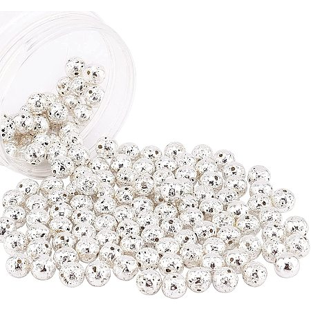NBEADS Electroplated Natural Lava Beads Strands, Round, Bumpy, Silver Plated, 9mm, Hole: 1mm; about 141pcs/box