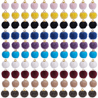 Faux Mink Fur Covered Pendants, with Golden Tone Brass Pendant Bails, Round, Mixed Color, 14x10mm, Hole: 1.5mm, 100pcs/set