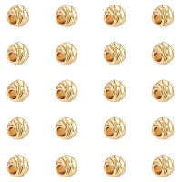 ARRICRAFT Carved Brass Beads, Long-Lasting Plated, Round, Golden, 3.5~4x3mm, Hole: 2mm, 200pcs/box