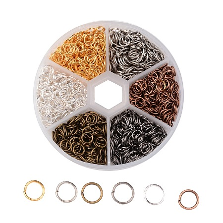 ARRICRAFT About 1800 Pcs Iron Open Jump Rings Unsoldered Diameter 6mm Wire 21-Gauge 6 Colors for Jewelry Findings