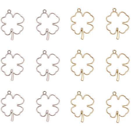 Olycraft Rack Plating Alloy Open Back Bezel Pendants, For DIY UV Resin, Epoxy Resin, Pressed Flower Jewelry, Irish Clover, Platinum & Golden, 44.5x34x3.8mm, Hole: 3mm
