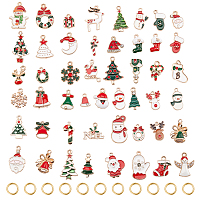 Arricraft Christmas Theme Alloy Enamel Pendants, Cadmium Free & Lead Free, Mixed Shapes, Light Gold, Mixed Color, 13.5~25.5x7.5~18.5x1~5mm, hole: 2mm, 50pcs/bag