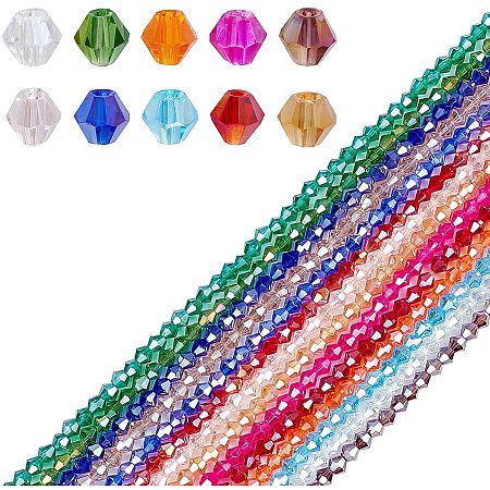 PANDAHALL ELITE Faceted Bicone Glass Beads Strands, AB Color Plated, for DIY Crafting, Mixed Color, 4x4mm, Hole: 1mm; about 98~100pcs/strand; 14strands/set