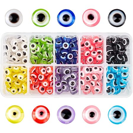 NBEADS 300 Pcs 10 Colors Resin Evil Eye Beads, 7.5mm Flat Round Evil Eye Charms for DIY Jewelry Making