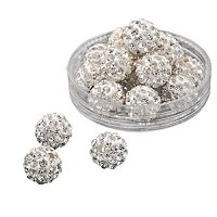 ARRICRAFT 100 Pcs 10mm Crystal Pave Disco Ball Clay Beads, Polymer Clay Rhinestone Beads Round Charms Jewelry Makings