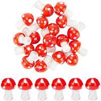 Arricraft 25 Pcs Mushroom Bead Strands, Handmade Lampwork Beads Spacer, Mushroom Loose Beads for Bracelets Necklace Jewelry Making (Red)
