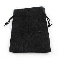 NBEADS 250 Pcs 5.5x3.9 Inch Black Burlap Wedding Pouches Drawstring Bags Jewelry Pouches Gift Pouches