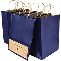 BENECREAT 30 Pack Dark Blue Large Kraft Paper Bags with Twisted Handles(8.26x3.14x5.9), Shopping/Party Favor/Gift Bags for Valentine's Day, Birthday Wedding Parties, Holidays and Other Occasions