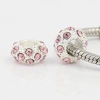 PandaHall Elite 100PCS Pink Alloy Crystal Rhinestone Beads 11x6mm Large Hole European Beads for Jewelry Making