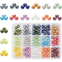 PH PandaHall 15 Color 8mm Porcelain Beads Handmade Round Pearlized Porcelain Beads Charms with 2mm Hole for Braided Bracelet, Necklace, Earring Making, 150pcs