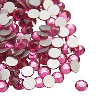 NBEADS About 1440pcs/bag Rose Back Plated Faceted Half Round Grade A Glass Flat Back Rhinestone for Nails Decoration Crafts Eye Makeup, 1.9~2mm