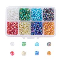 ARRICRAFT 1 Box 6/0 4mm Glass Seed Beads Transparent Colours Rainbow DIY Loose Spacer Mini Glass Seed Beads