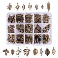 PandaHall Elite 150 PCS 15 Tree Leaf Style Antique Bronze Tibetan Alloy Charms Finding Pendants Beads Charms for DIY Jewelry Making