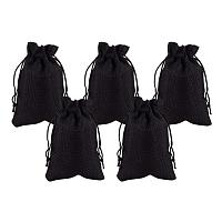 NBEADS 5 Pcs Black Drawstring Burlap Bags Gift Bags 14x10cm for Wedding Party, Arts & Crafts Projects, Presents, Snacks & Jewelry, Christmas