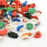 Arricraft Mixed Shapes Handmade Christmas Theme Polymer Clay Pendants, Mixed Color, 21~29x14~24x4~11mm, Hole: 1mm
