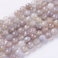 Nbeads Natural Striped Agate/Banded Agate Beads Strands, Faceted, Round, Gainsboro, 6mm, Hole: 1mm
