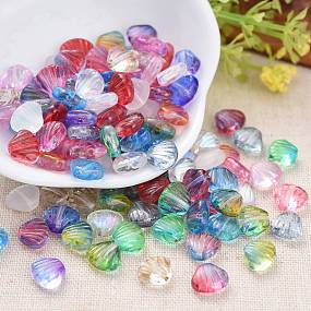 ARRICRAFT Czech Lampwork Beads, Frosted, Dyed/Gold Inlay Color/Transparent, Scallop Shell Shape, Mixed Color, 7~7.5x8.5~9x4mm, Hole: 0.9mm.