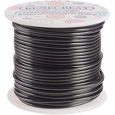 BENECREAT 12 17 18 Gauge Aluminum Wire (12 Gauge,100FT) Anodized Jewelry Craft Making Beading Floral Colored Aluminum Craft Wire - Black