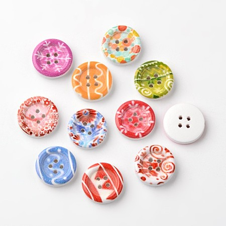 NBEADS Flat Round 4-Hole Wooden Buttons, Mixed Color, 15x4mm, Hole: 1mm
