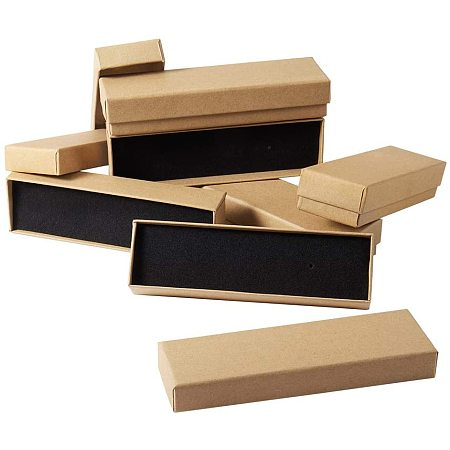 PandaHall Elite 20 Pack Necklace Bracelet Kraft Box, Rectangle Cardboard Jewelry Gift Boxes with Sponge for Jewelry Bracelet Necklace Pendants Ring Birthday Christmas Valentines Day