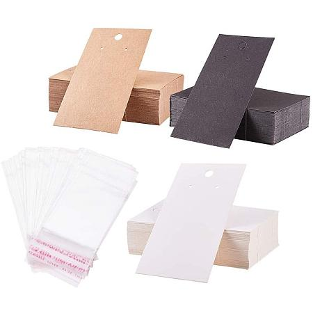 PH PandaHall 150 pcs 3 Colors 3.5x2 Inch Paper Earring Display Cards with 150 pcs Clear Self-Seal Bags, Blank Card Holder Paper Tags for Earring Ear Studs Jewelry Display, White/Black/Brown