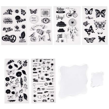 PandaHall Elite 6 Sheets Clear Silicone Stamps Butterfly Flower Symbol Stamp Seal Set with 2pcs Square Acrylic Block Pad for Cards Making DIY Scrapbooking Photo