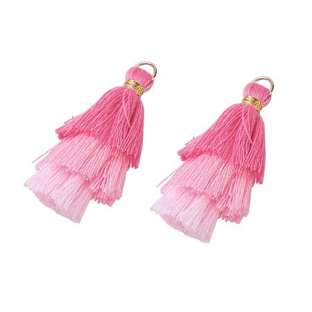 NBEADS 20 Pcs Pink Polyester Tassel Pendants, Tri-Layered Tassels with Gold Jump Ring for DIY Projects, Jewelry Making, Decoration, Bookmarks