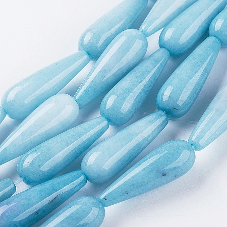 NBEADS Natural & Dyed Aquamarine Beads Strands, Drop, 28.5~30x10~10.5mm, Hole: 1.8mm, about 13pcs/strand, 15.1