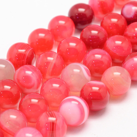 Nbeads Natural Striped Agate/Banded Agate Bead Strands, Round, Grade A, Dyed, Cerise, 8mm, Hole: 1mm; about 47~48pcs/strand, 14.5