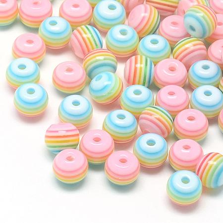 ARRICRAFT Transparent Stripe Resin Beads, Round, Pink, 8mm, Hole: 2mm