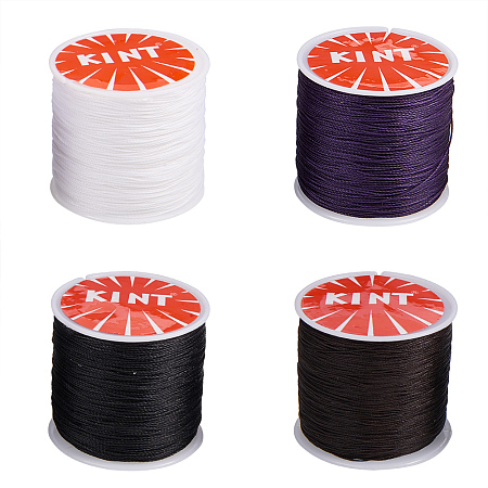 PandaHall Elite 4 Rolls 0.5mm Waxed Cotton Cord Thread Beading String 116 Yards per Roll Spool for Jewelry Making and Macrame Supplies 4 Colors