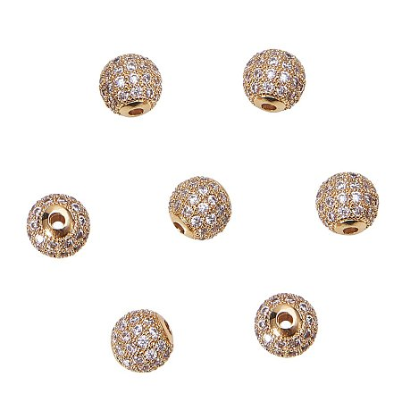 NBEADS 10pcs 8mm Brass Clear Gemstones Cubic Zirconia CZ Stones Pave Micro Setting Disco Ball Spacer Beads, Round Bracelet Connector Charms Beads for Jewelry Making