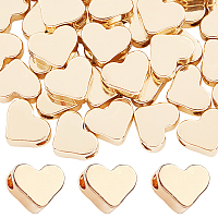 Brass Beads, Long-Lasting Plated, Heart, Real 14K Gold Plated, 6x7x3mm, Hole: 1.8mm, 60pcs/box