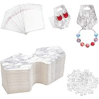 PandaHall Elite Earring Cards Set 100 Pcs Paper Earring NULL 100 Pcs Self-Seal Bags 100 Pcs Plastic Ear Nuts Fashion Card Holder Organizer Tags DIY Handmade Packing Cards for Earring Stud