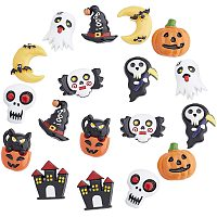 NBEADS 18 Pcs Halloween Theme Resin Beads, Opaque Resin Cabochons Mixed Shapes Halloween Beads for Bracelet Necklace Jewelry Making on Halloween
