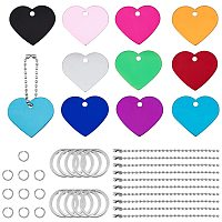 BENECREAT 20Pcs Heart Shape Colored Aluminum Stamping Blanks 1.5 x 1.3 Pet ID Tags with Plastic Storage Box, 30Pcs Jump Rings, 10Pcs Ball Chains, 10Pcs Key Rings for Engraving Art Crafts Making