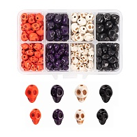 ARRICRAFT 280Pcs 2 Sizes Dyed Synthetic Turquoise Beads, Skull, Mixed Color, 8~10x6~8x7~10mm, hole: 1mm