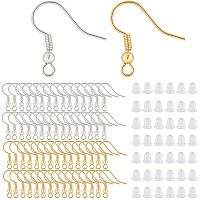 BENECREAT 60PCS Gold and Platinum French Earring Hooks Ear Wires with 100PCS Ear Nuts for DIY Jewelry Making Craft